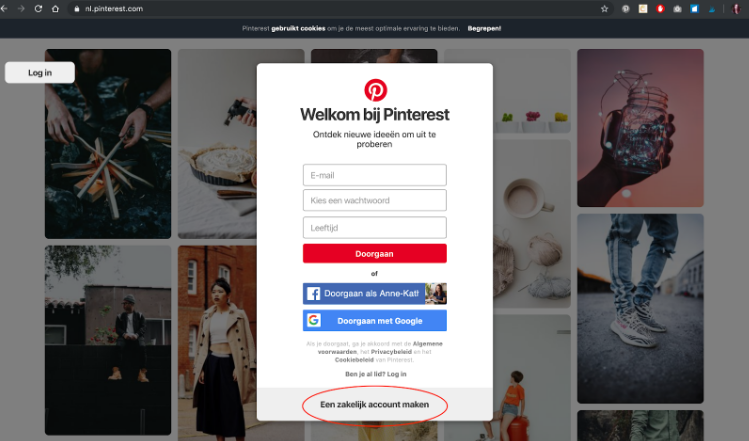 pinterest account aanmaken